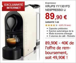 Exclu Web : Krups Nespresso U + 16 capsules dégustation à 49,90 euros via une offre de remboursement + livraison gratuite | Maxi Bons Plans