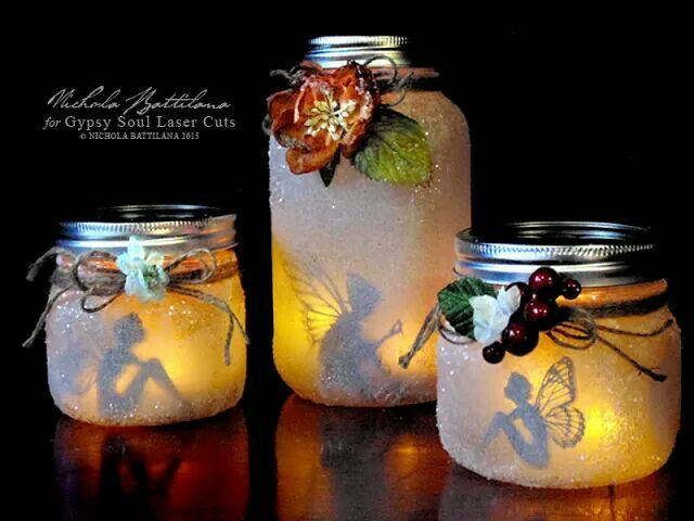 Cool.....•Gypsy SoulGarden Fairycutouts • Glass jam jars with lids • Thin tissue paper • White school glue • Quality white glue • Clear glitter • Twine • Floral embellishments (THESE sugared bloomsfrom Petaloo are gorgeous) • Battery powered tealights or led string lights  NOTE: Please DO make for friends, as gifts....