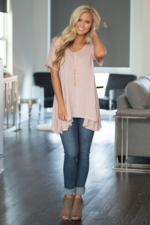 Living In Love Blouse Light Pink - The Pink Lily