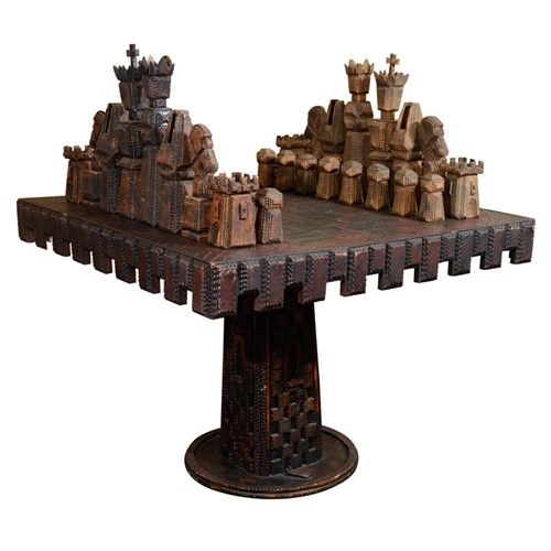 Vintage Monumental Carved Wood Game Table and Chess Pieces THIS IS TRAMP ART EXTRAORDINAIRE!!!!!!