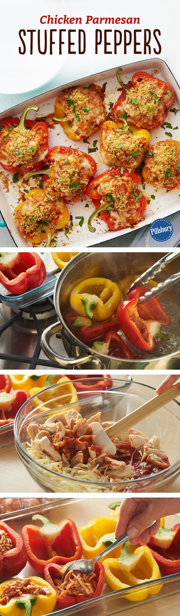 Chicken Parmesan Stuffed Peppers Recipe - Stuffed peppers take a chicken Parmesan twist in this delicious and colorful version filled with chicken, pasta sauce and mozzarella, finished with a crispy bread crumb and Parmesan cheese topping.