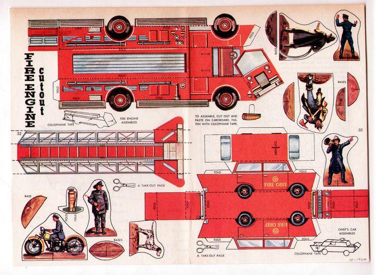 Vintage Fire Engine Firemen CUT OUT Paper Dolls Page 1964 Uncut Plus Chief'S CAR | eBay