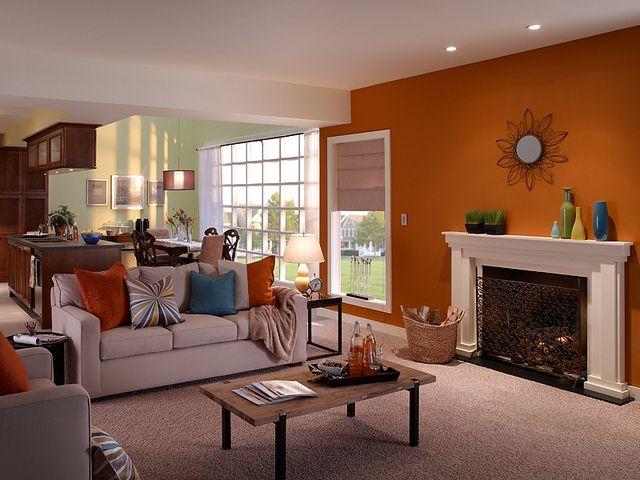 22 best images about orange rooms on pinterest guava - Orange color paint for living room ...