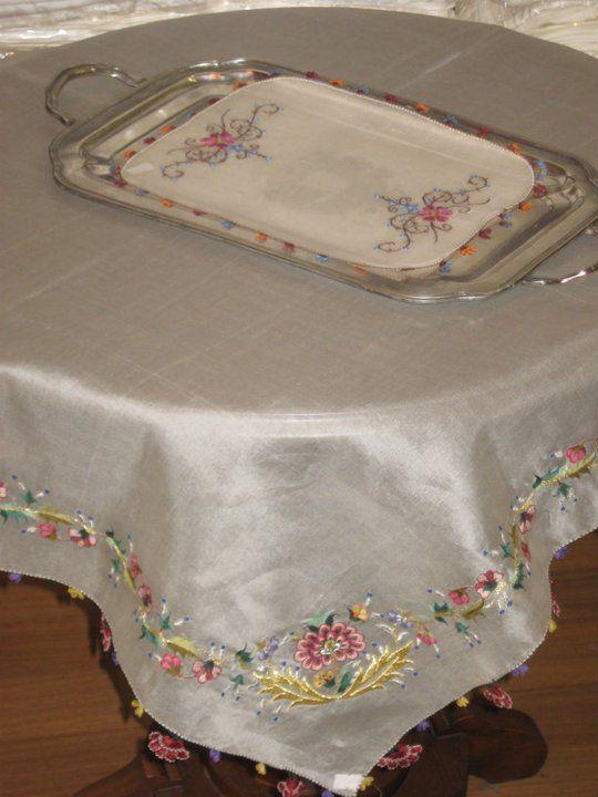 Needlework & organza tablecloth