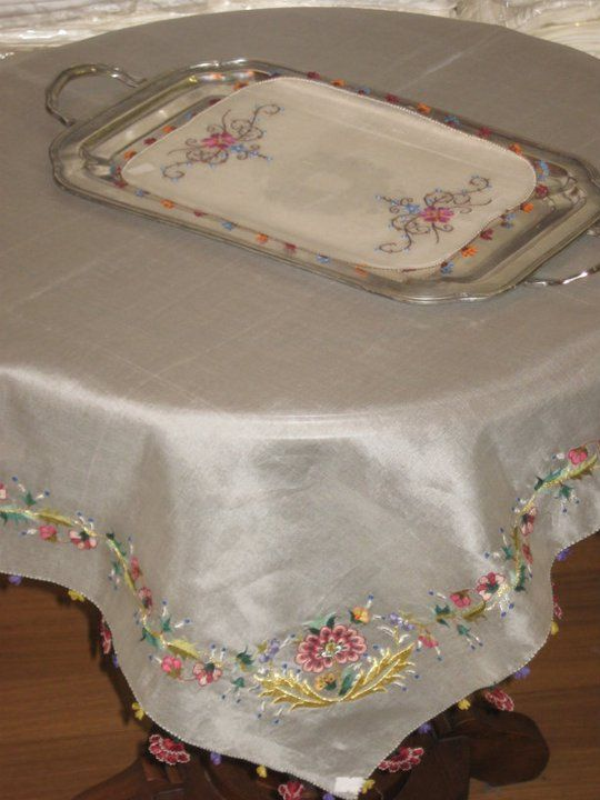 Needlework & organza tablecloth