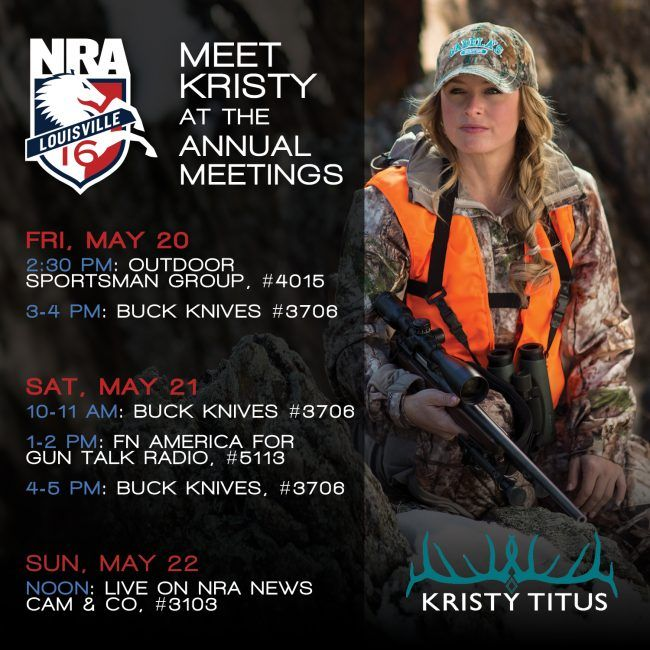 Kristy Titus, is offering meet & greets during the NRA Annual Meetings May 19-21 at the Kentucky Expo Center in Louisville, Ky. Meet Kristy Titus This Weekend at NRA Annual Meetings http://www.womensoutdoornews.com/2016/05/meet-kristy-titus-nra-annual-meetings/ via @teamwon