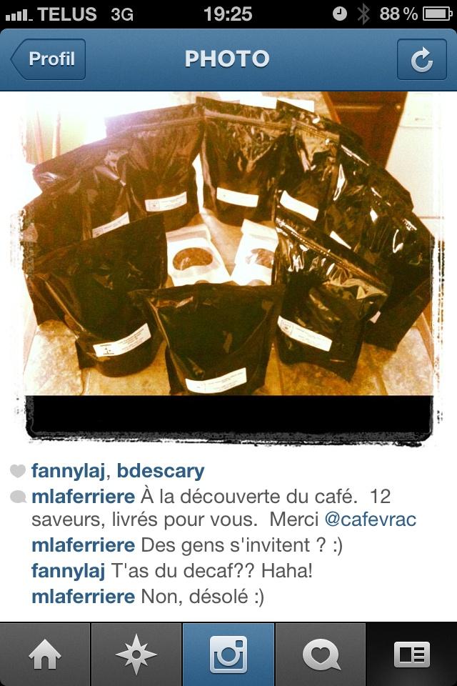 Photo prise suite à ma commande de @cafevrac (via Instagram)