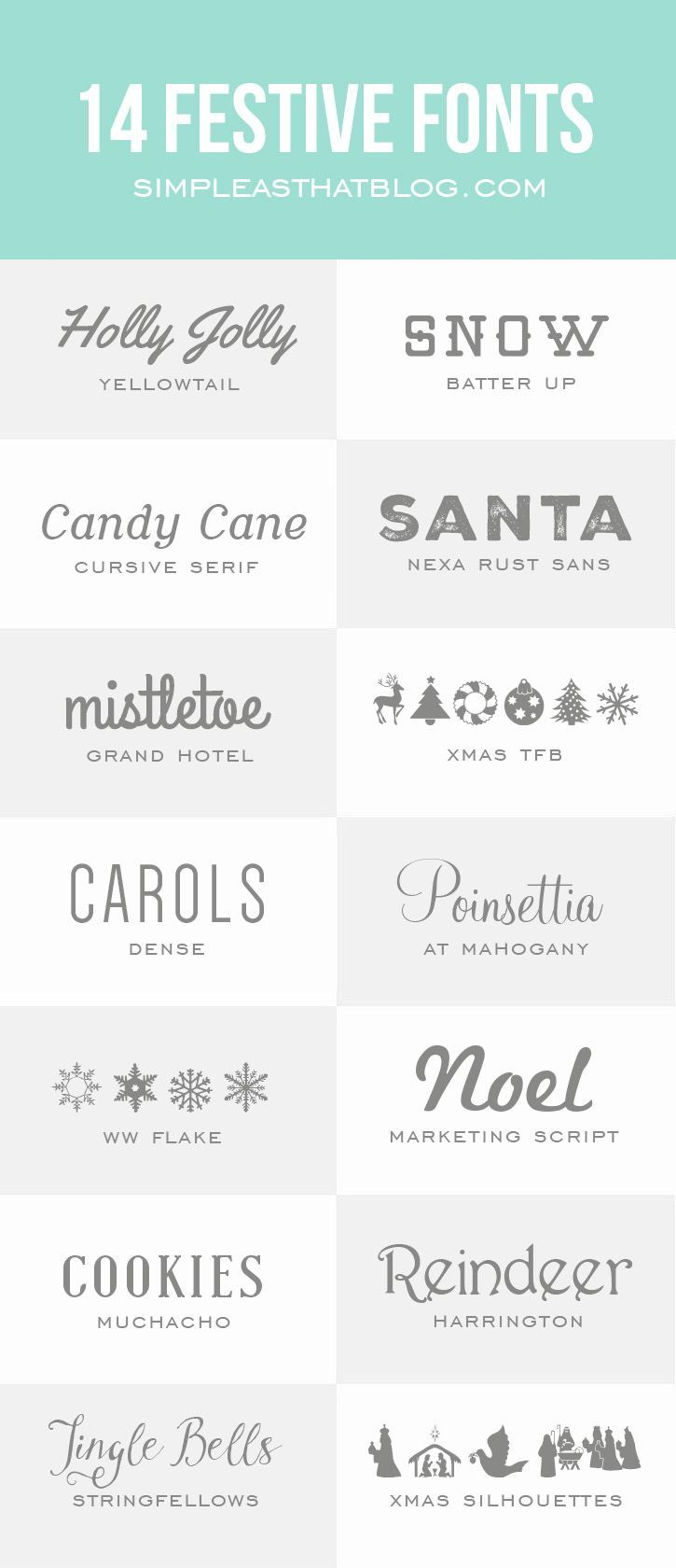 14 Festive Fonts for the Holidays | simpleasthatblog.com #font #holidays #christmas (scheduled via http://www.tailwindapp.com?utm_source=pinterest&utm_medium=twpin&utm_content=post736863&utm_campaign=scheduler_attribution)
