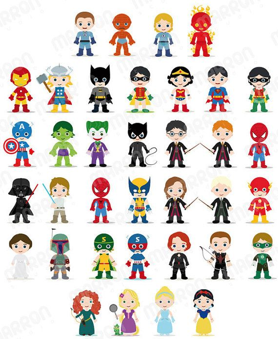 Superhero Inspired Characters Clip Art for Birthdays Digital Download. $2,49, via Etsy.