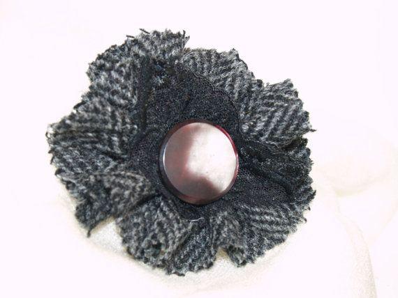 Black and Grey Herringbone Harris Tweed with by GoldenpennyCrafts