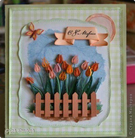 Открытка 8 марта Ассамбляж Квиллинг Скоро праздник Бумага фото 2