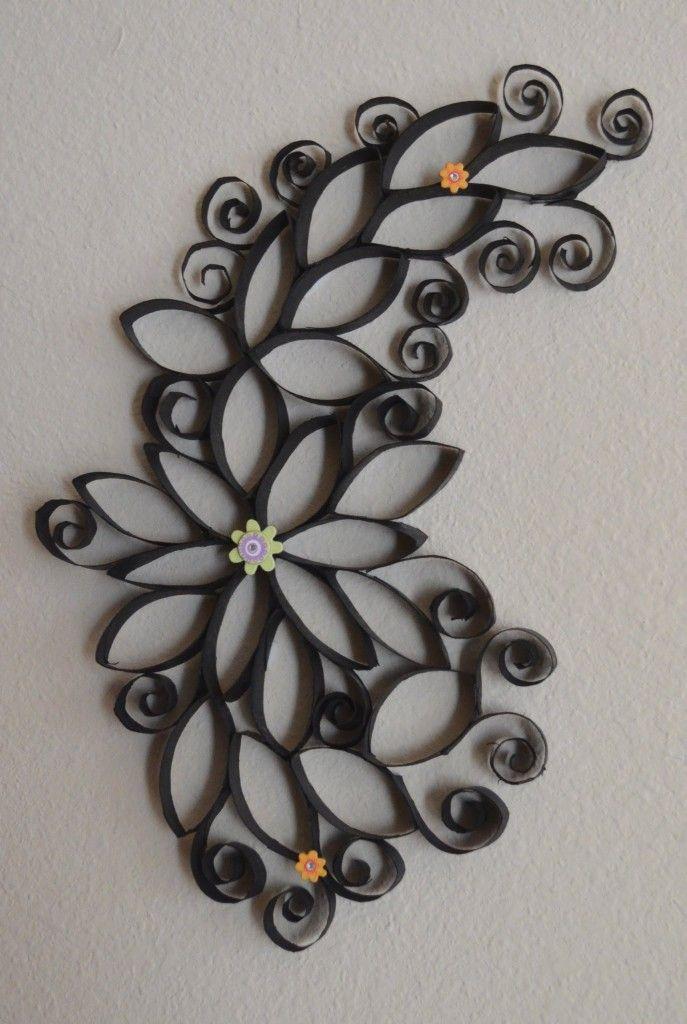 #diy #decor Διακοσμητικά τοίχου από χαρτόνι ρολό :http://diys.gr/decor/diakosmitika-toixou-rolo-xartoni/