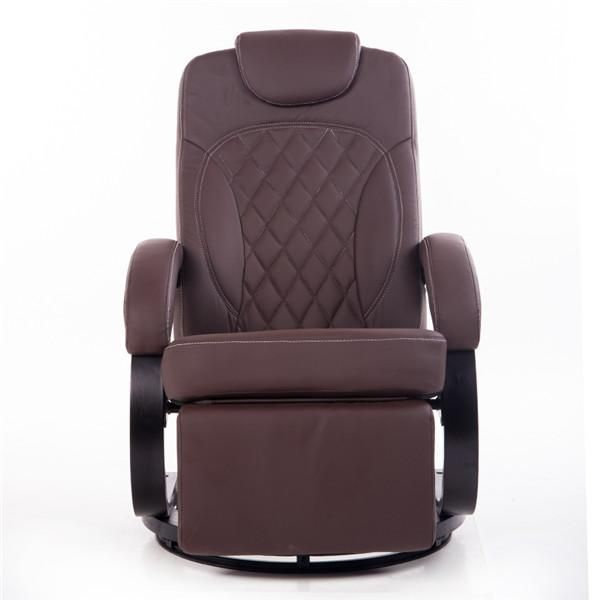 Large Leather Living Room Chair Armchair Ergonomic Swivel Recliner Chair  Modern Reclining Office Armchair Wood Base Part 63
