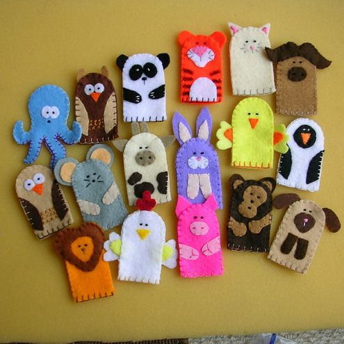 Felt finger puppets.  LInk is bad, But use this as inspiration.  Child-size finger puppets make great bjd hand puppets!
