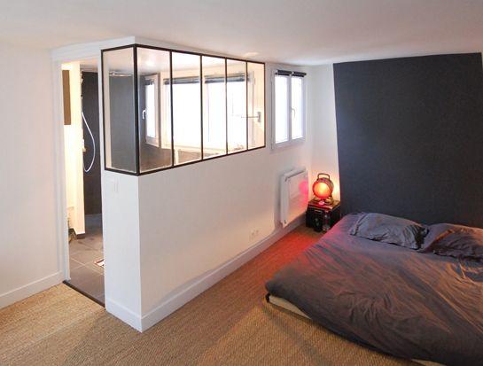 Verri re atelier entre la chambre et la salle d 39 eau home - Chambre avec salle de bain ouverte ...