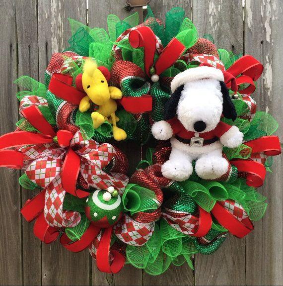 snoopy christmas charlie brown christmas christmas by babamwreaths - Charlie Brown Christmas Decorations