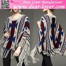 custom 2015 Vintage Geometric Fringed Poncho print sweater for women  Best Buy follow this link http://shopingayo.space