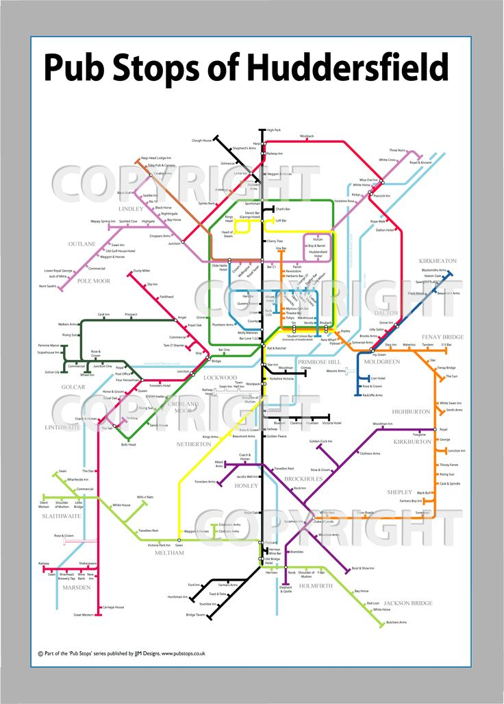 Fancy a pint? We really like this tube style pic of Hudds pubs :)