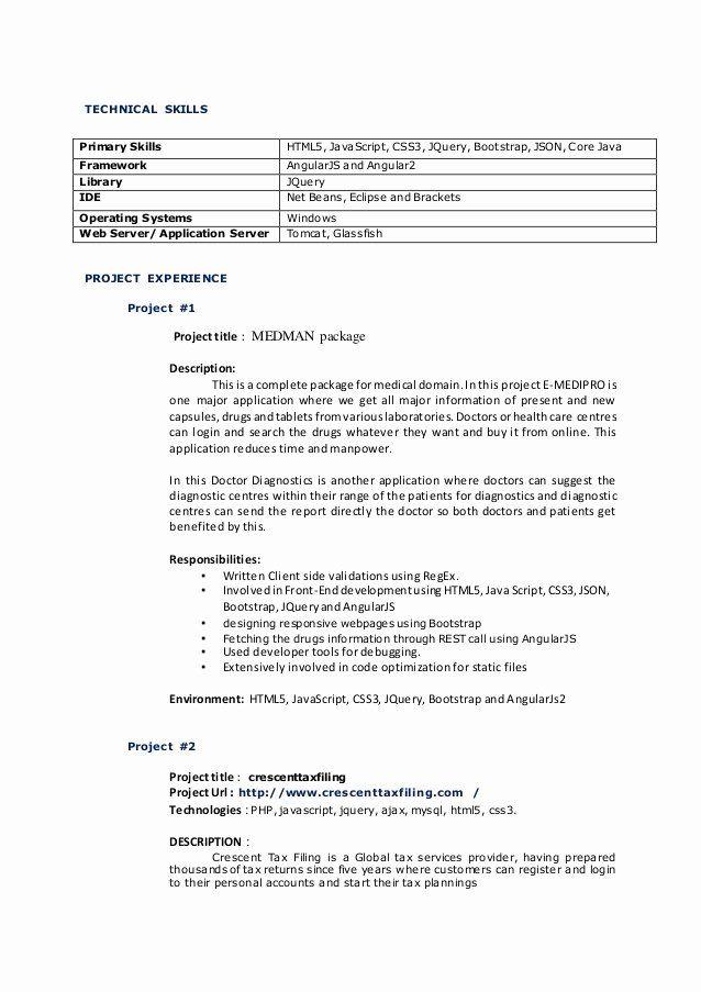 ui developer sample resume 2 years experience  best