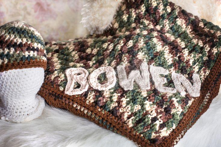 Baby camo blanket, Crochet baby blanket, Personalized blanket, Baby boy blanket, Baby blankets,  Camo bedding, Baby boy, Baby shower gift