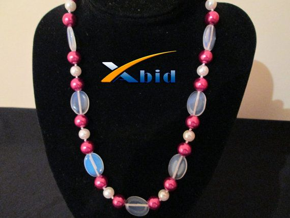 Necklace 18'' 13X18MM Moonstone Opal 810MM Shell Pearls by xabid, $17.99