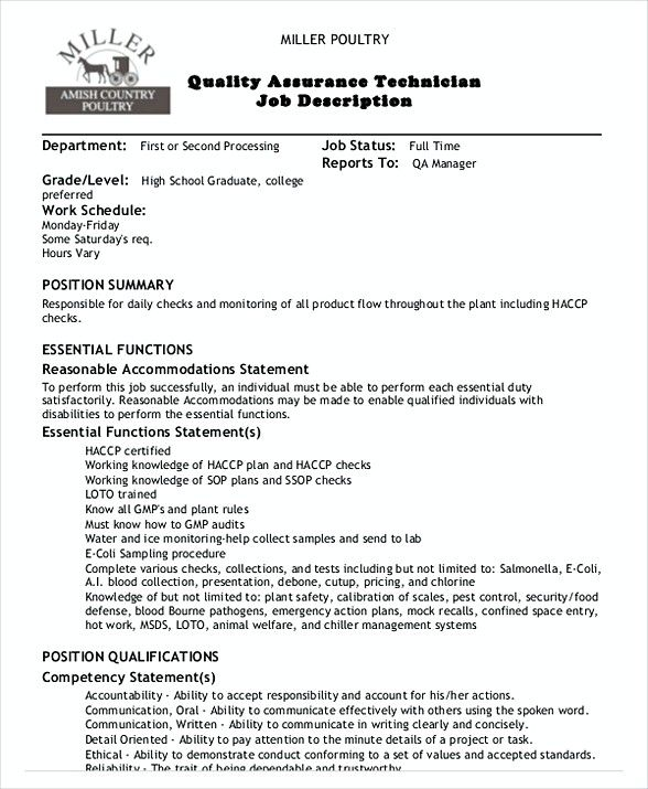 Quality Assurance Technician Job Description  Quality Assurance