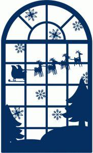 Silhouette Design Store - View Design #69885: santa christmas window scene