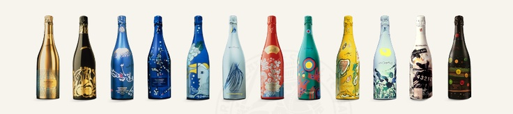 Taittinger Champagne's special edition bottles from over the years.