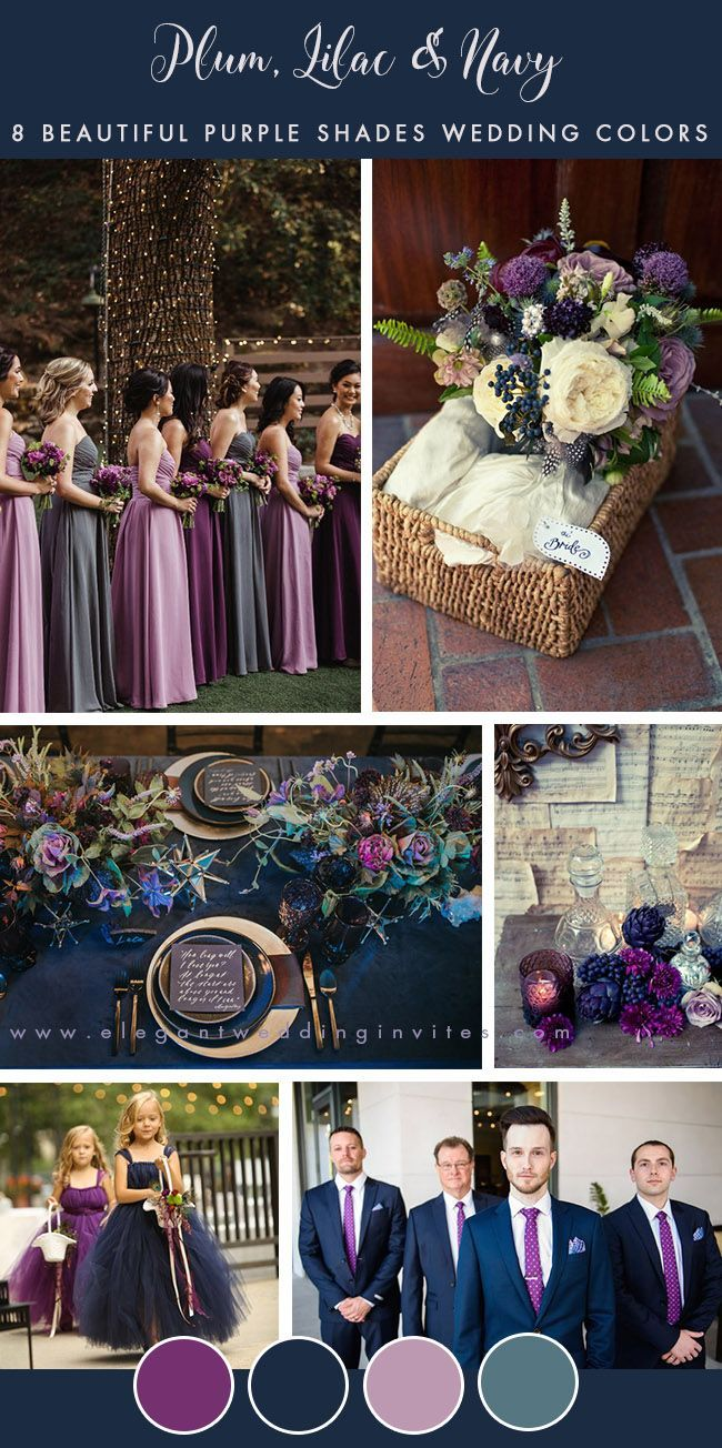 8 Stunning Wedding Colors In Shades Of Purple Navy Wedding