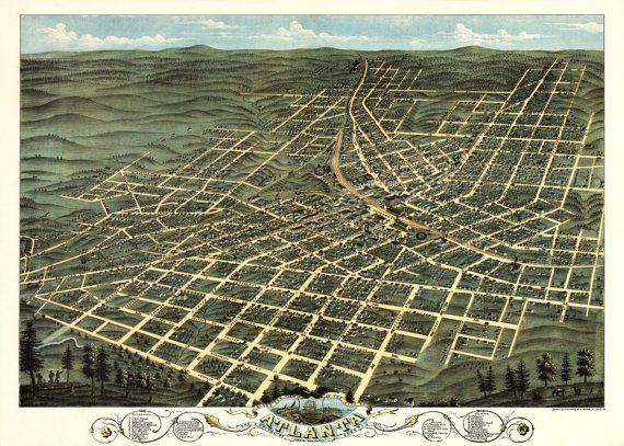 1871 Panoramic Birds Eye View Map of Atlanta Georgia