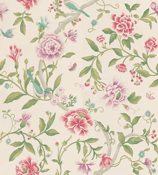 Porcelain Garden Magenta/Leaf Green wallpaper by Sanderson