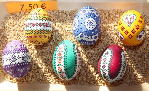 Painted Easter eggs sit on display for sale at the annual Sorbian Easter market in Schleife, Germany.