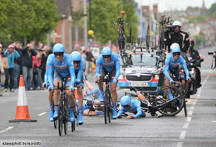 Garmin sharp has bad crash at the first stage of the giro de italia 2014.  Daniel Martin is out.  Ryder hesjedal now back 3 minutes. Here is pic two.