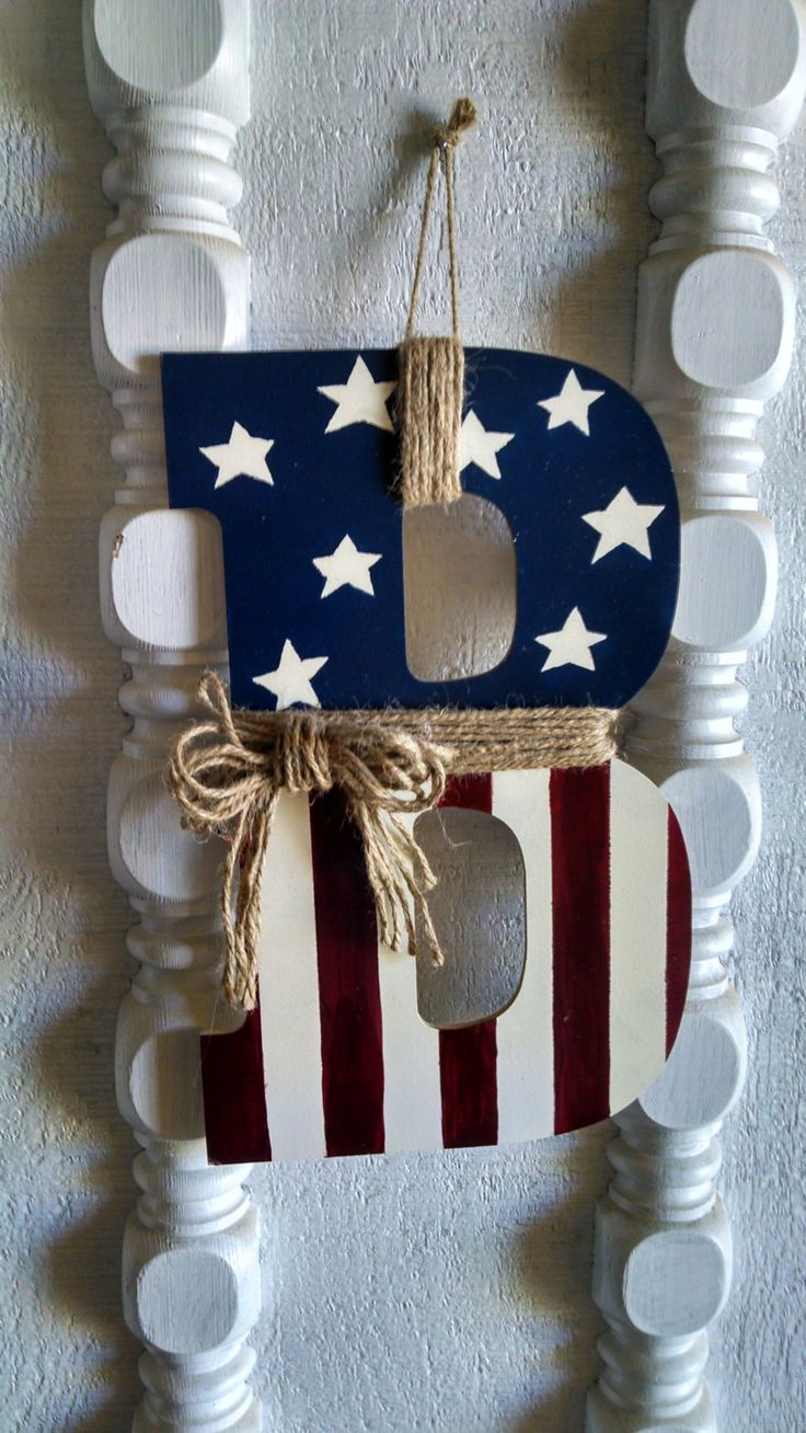 Mandy is making these - any letter you need.   :) Made to Order Primitive American Flag Monogram for by MandyBrenly