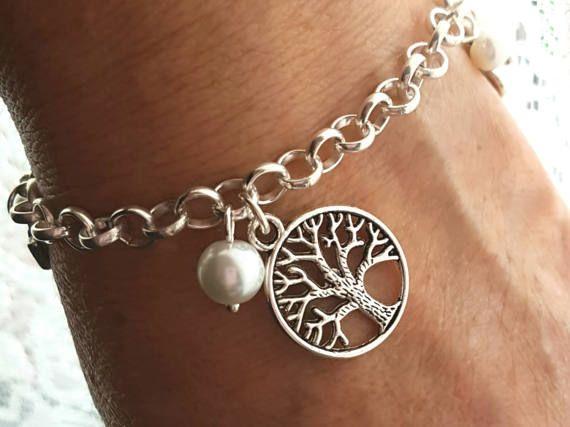 Tree of Life Pearl Charm Bracelet Silver Charms Joy Heart
