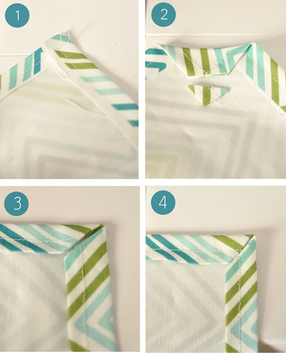 steps for perfect corners for towels or linen napkins (yeah right like I'm gonna do this) but it's a neat idea for someone that actually sews.