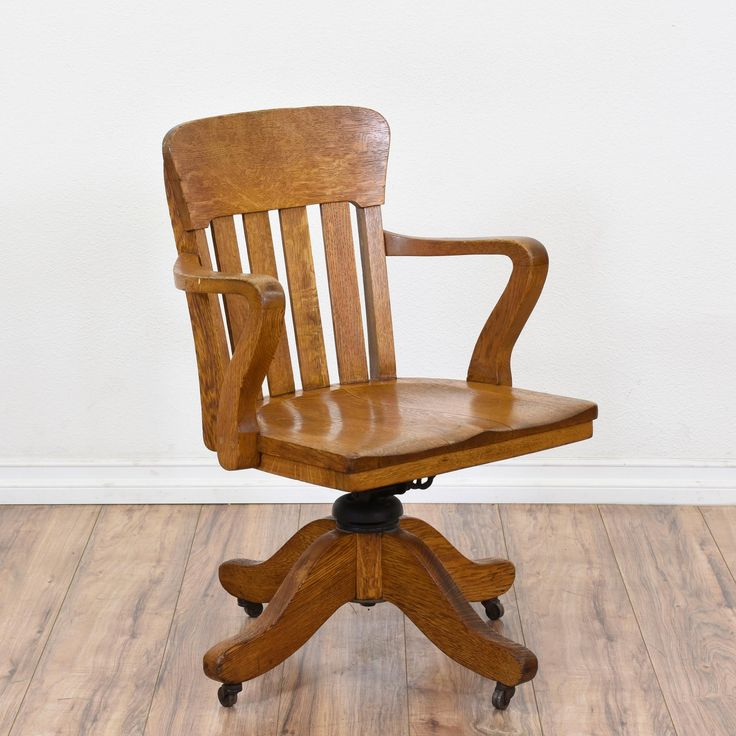 This Bankers Chair Is Featured In A Solid Wood With Glossy Light Oak Finish Rustic Office Good Condition Curved Arms