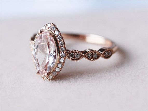 Gorgeous I love it. Elegant, classic and absolutely stunning.   VS Marquise Cut 1.16ct Morganite Ring Solid 14K door AbbyandWills