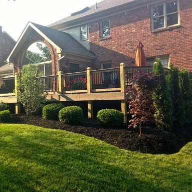Landscaping around new deck