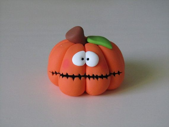 Polymer Clay Halloween Pumpkin Figure by ClayPeeps on Etsy, $7.50