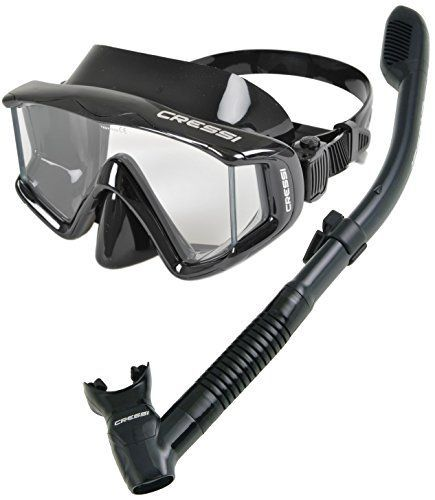 Cressi Panoramic Wide View Mask Dry Snorkel Set, All Blac