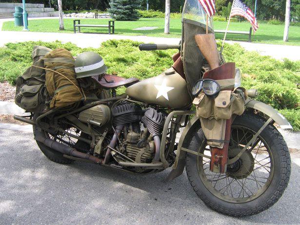 Vintage Harley military style.1942 WLA Harley Davidson Motorcycle