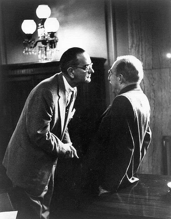 LBJ with Senate Majority Leader Thomas Green (1957).  This is a perfect example of the way LBJ manipulated/frightened members of Congress to get things done his way.