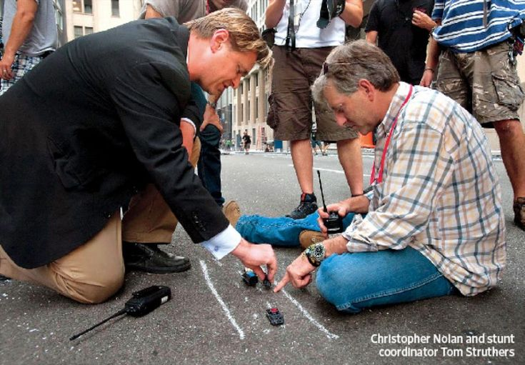 The Dark Knight - Christopher Nolan using toy cars to plan out chase scenes with his stunt director.