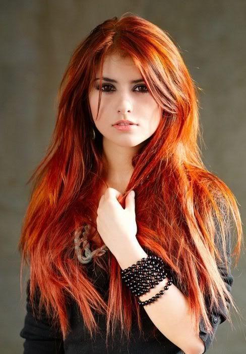 orangey red hair