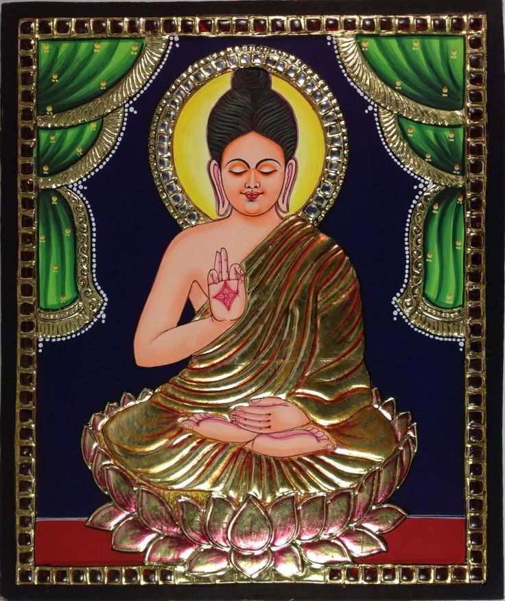 Tanjore Buddha Painting. Tanjore painting featuring Lord Buddha. Rich and intricate, this compact composition is also bright, colorful and breathtakingly beautiful.