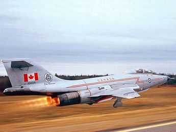 A detailed history on the McDonnell CF-101B Voodoo a 1958 Fighter WWII aircraft on display at the Canadian Warplane Heritage Museum