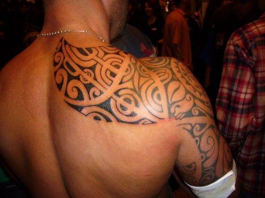 shoulder tattoos for men | Back Shoulder Tribal Tattoo Design for Men 2011