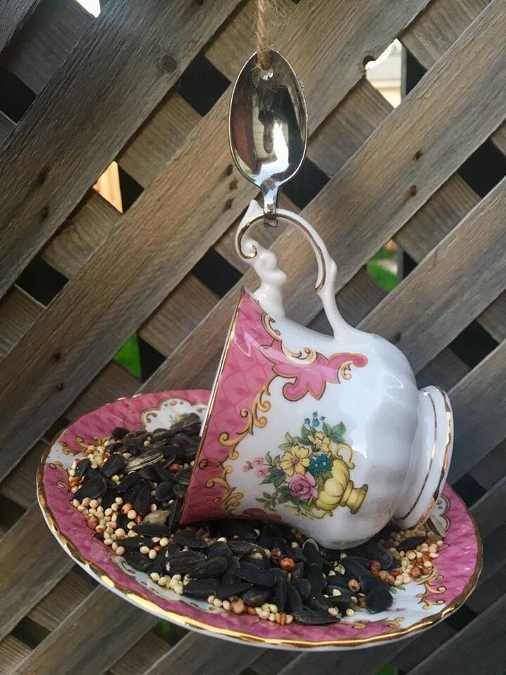 A personal favorite from my Etsy shop https://www.etsy.com/ca/listing/553594982/pink-floral-rosina-teacup-bird-feeder