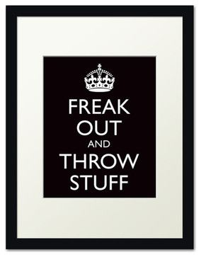 Freak Out and Throw Stuff, black frame (black) - modern - Novelty Signs - Keep Calm Collection